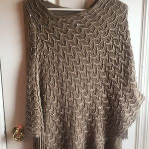 Medium sequined taupe shawl / wrap EUC